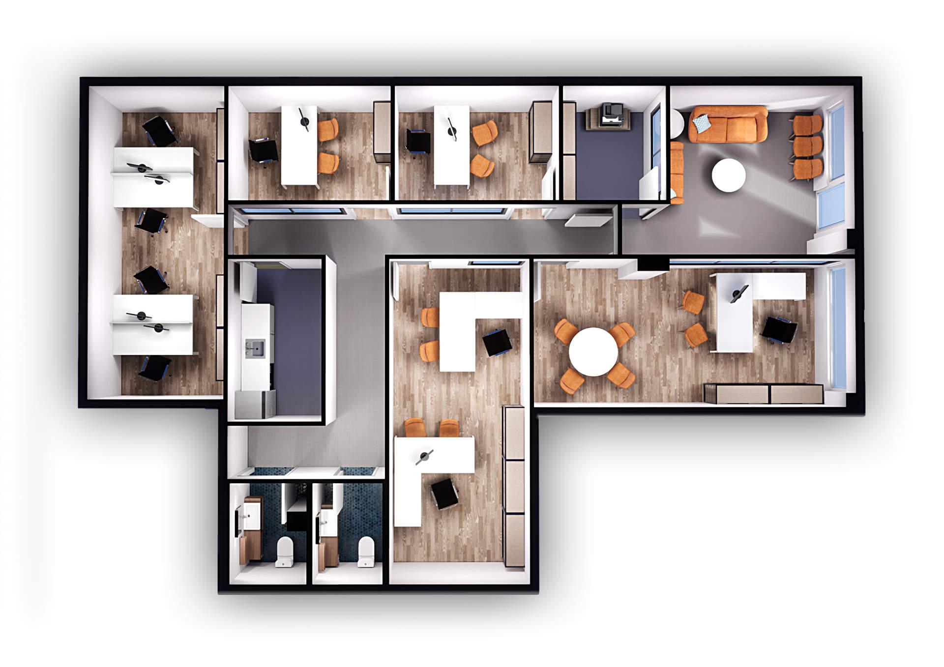 Plano 3d de oficina para alquiler de despachos Padre Mendez (Almería)